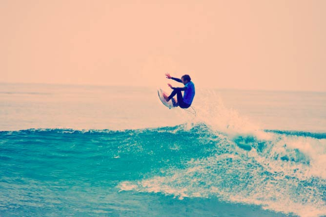 Surfer Kieren Perrow getting some air at the Hurley Pro