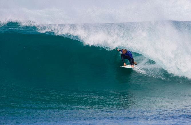 Owen Wright getting barreled  at the Rip Curl Pro