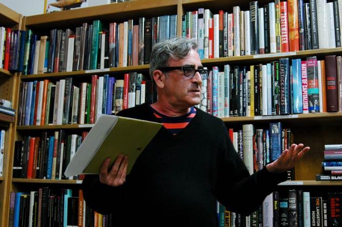 Tosh Berman speaks at Alias Books East (Photo: Eleanore Studer)