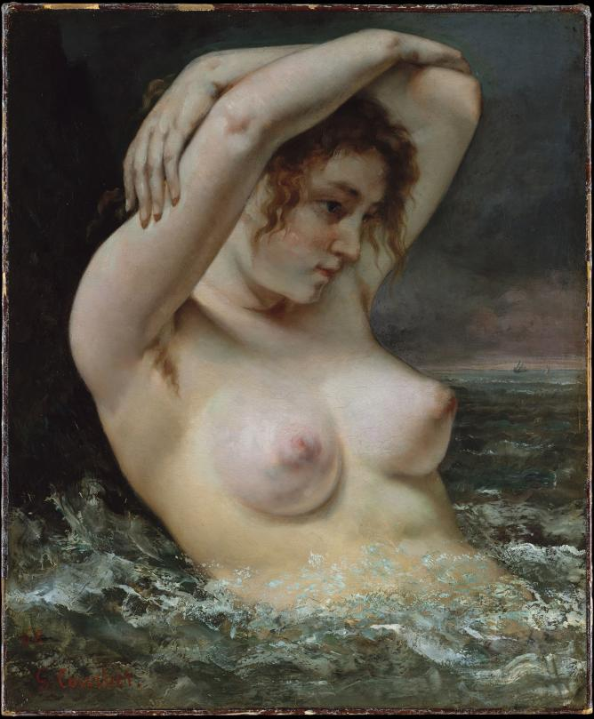 Gustave Courbet The Woman in the Waves, 1868 Lent by The Metropolitan Museum of Art, H. O. Havemeyer Collection, Bequest of  Mrs. H. O. Havemeyer, 1929 (29.100.62) © The Metropolitan Museum of Art, New York