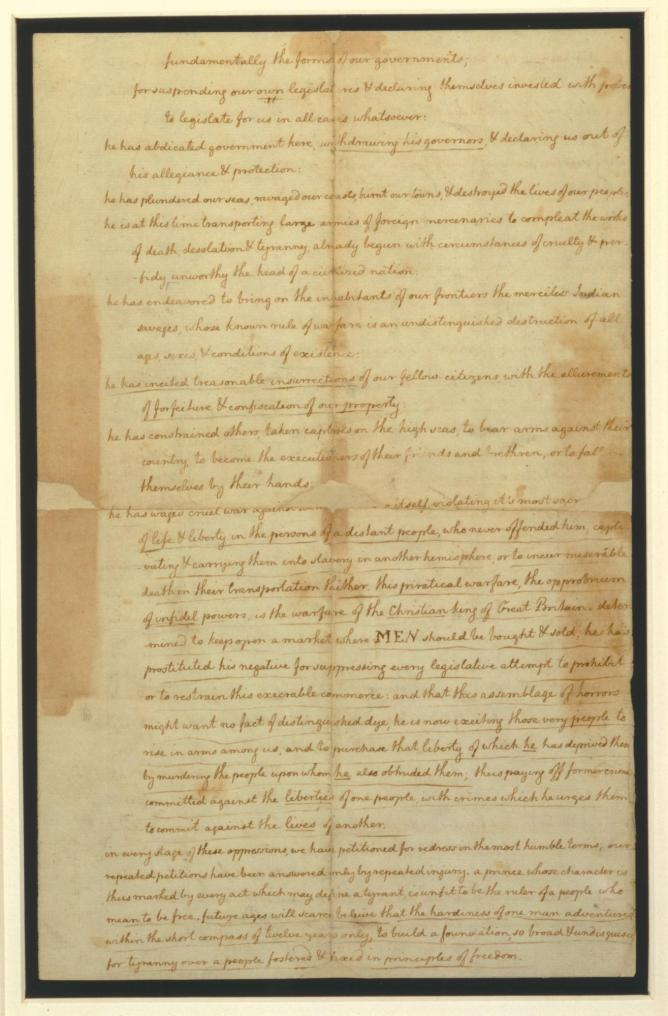 Page 1 of the Declaration of Independence