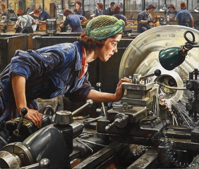 Loftus was 'an outstanding factory worker'. Knight expected to do a studio portrait but the Ministry of Supply requested that she be painted at work in the Royal Ordnance Factory in Newport. | Imperial War Museum