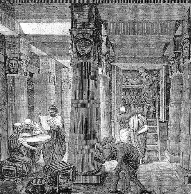 'The Great Library of Alexandria' by artist O. Von Corven | © Tolzmann, Don Heinrich, Alfred Hessel and Reuben Peiss/WikiCommons
