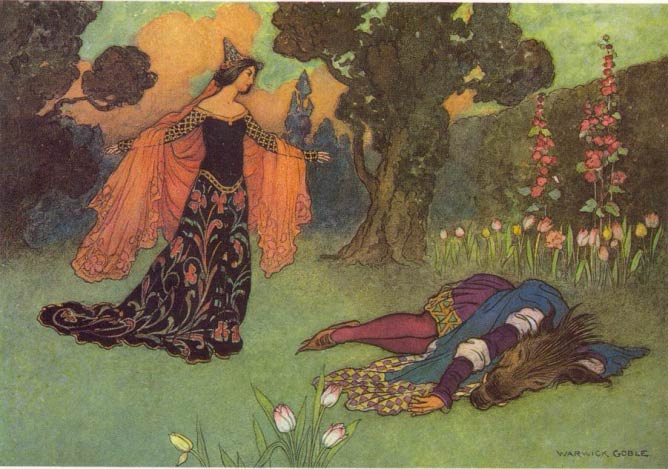 An illustrátion by Warwick Goble for Beauty and the Beast, 1913 | © Warwick Goble/Wikicommons