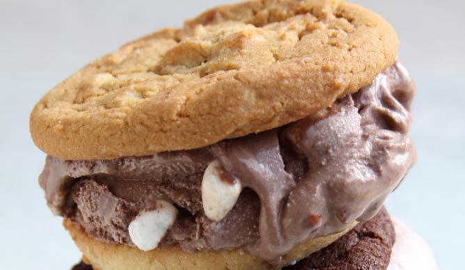 Rocky road ice cream in between two cookies from CREAM | © Katherine P. Harvey/U-T San Diego