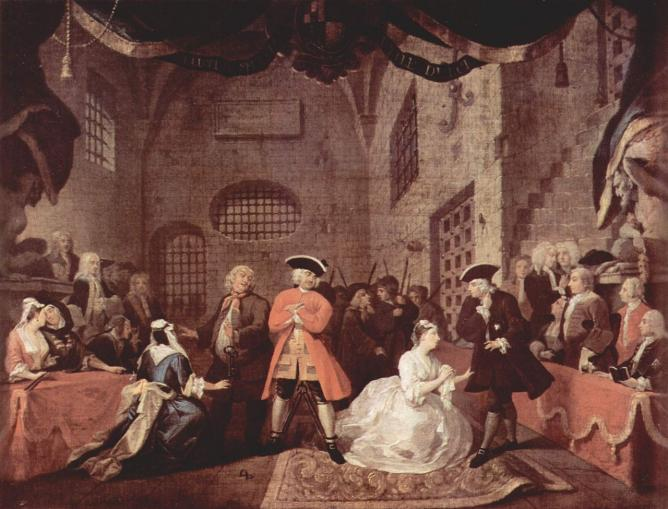 Painting based on The Beggar's Opera, scene 5, William Hogarth, c. 1728 | © WikiCommon