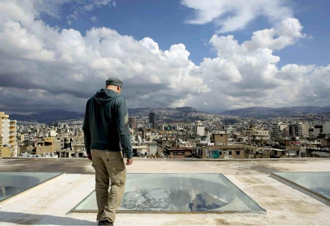 Lebanese painter Ayman Baalbaki on the roof of his studio overlooking Beirut Courtesy of Sueraya Shaheen