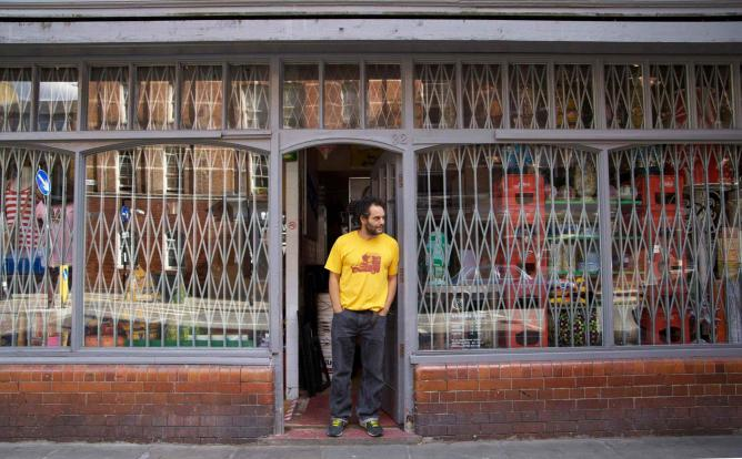 Moroccan-born pop-influenced portraitist and installation artist Hassan Hajjaj, outside his London studio Courtesy of Sueraya Shaheen