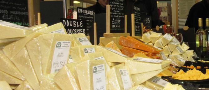 Truckles of cheese at Wensleydale Creamery Deli Room