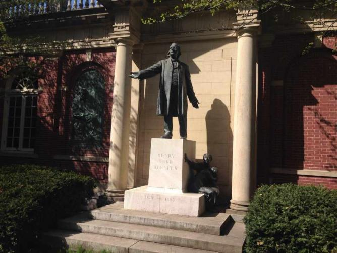 Statue of Henry Ward Beecher, outside Plymouth Church