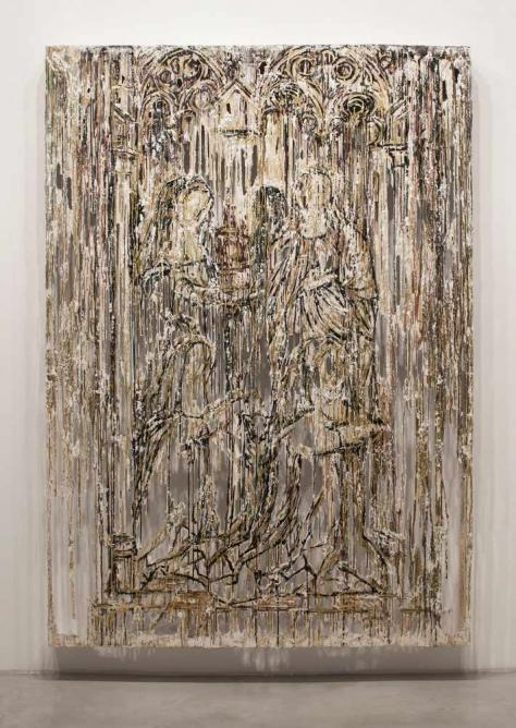 Diana Al-Hadid, Shadow Figures, 2015, Polymer gypsum, fiberglass, steel, plaster, gold leaf, and pigment 84 x 59.5 x 6 inches (213.4 x 151.1 x 15.2 cm) | Courtesy of the artist and OHWOW Gallery, Los Angeles
