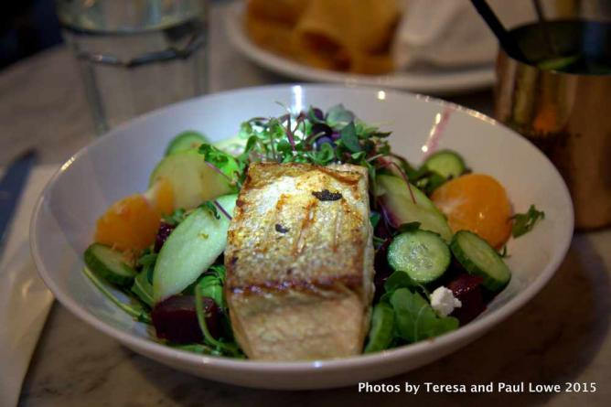 Citrus, Beet & Salmon salad at Clementine Gourmet Marketplace and Cafe