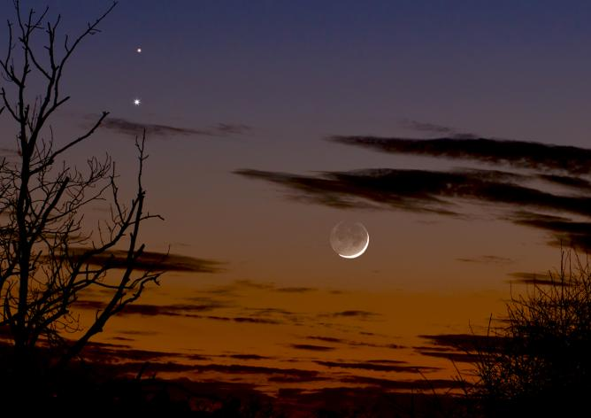 Venus and Mars in conjunction with Moon below Feb 20 2015 © Martin Campbell