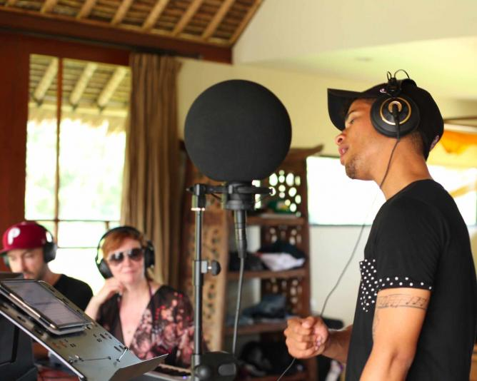 Jordan Fisher (Hollywood Records) recording vocals, Photo by Kim Nieva