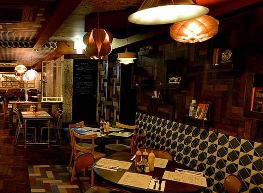 Inside the stylish bar