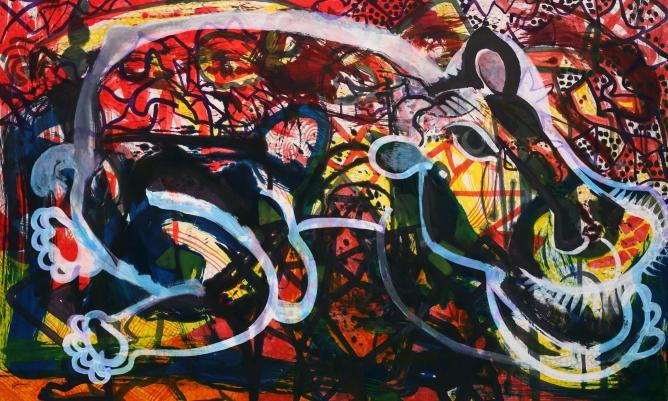 Jared FitzGerald, Tiger, Ink on silk, 168 x 274 cm, 2011. © Courtesy of FitzGerald Fine Arts