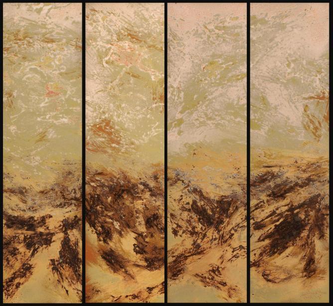 Zhu Di, Silence in Mountains, Jingdezhen Porcelain Panels, 118 x 126 x 4 cm, 2013. © Courtesy of FitzGerald Fine Arts