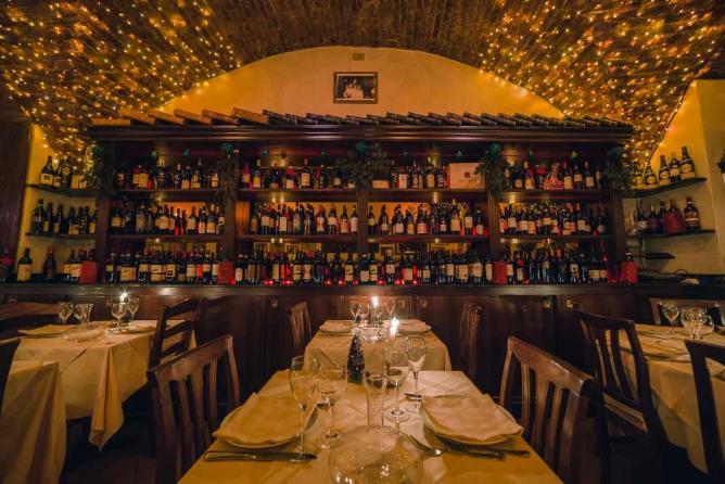 La Giostra interior and wine collection   Courtesy La Giostra
