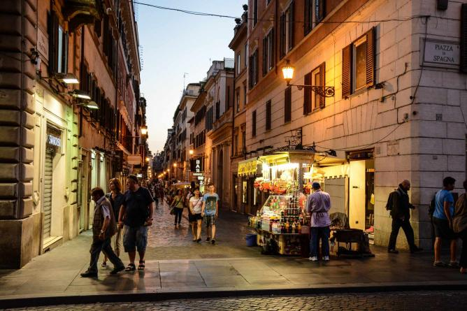A dusk-lit street in Rome | Courtesy of Elena Pagnoni