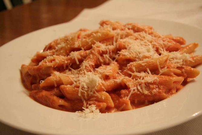 Pasta with cheese.
