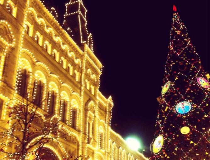 Exterior of Moscow's GUM at Christmas time | Courtesy of Marianna Hunt