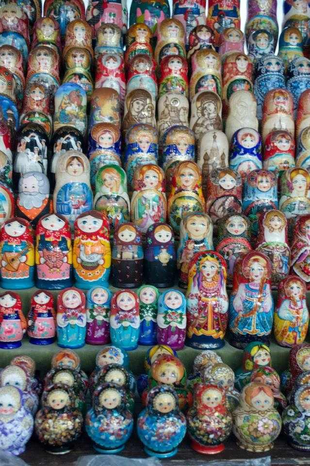 Rows and rows of matryoshki souvenirs at Izmailovsky market | Courtesy of Stefan Hunt
