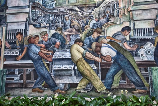 Part of the 'Detroit Industry' fresco by Diego Rivera, at the Detroit Institute of Arts | © Jason Mrachina/Flickr