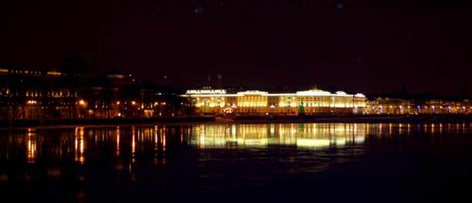 The view from Vasilievsky Island by night   Courtesy of Stefan Hunt
