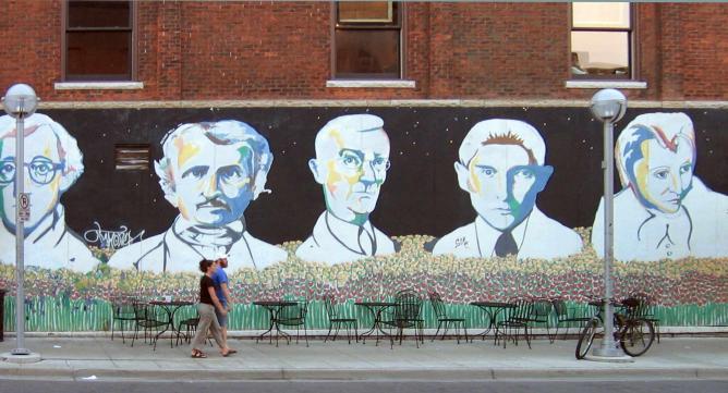 The Bookstore Mural, on the corner of Michigan's Liberty Street, depicting Hermann Hesse, center | © Michael Caroe Andersen/Flickr