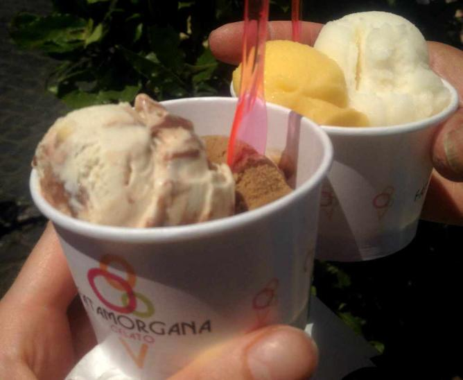 Heavenly coffee and hazelnut, and zesty passionfruit and lemon gelatos from Fatamorgana   courtesy of Marianna Hunt