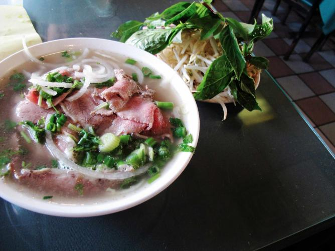 Pho, a traditional Vietnamese dish.