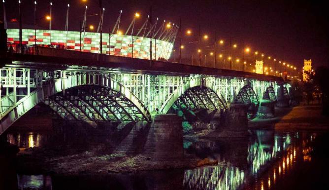 The National Stadium and the Poniatowski Bridge in Warsaw's Praga | © michal cybulski/Flickr