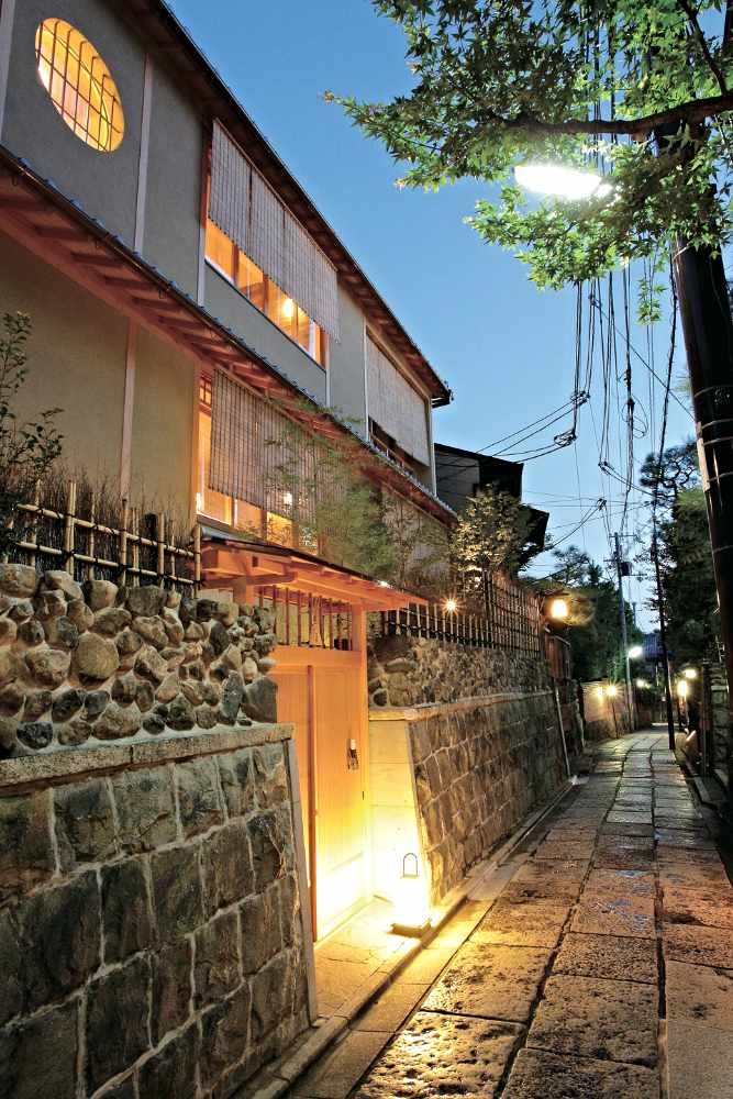 The restaurant coated by stones and stones alley   Courtesy of Kyoto Kamikura