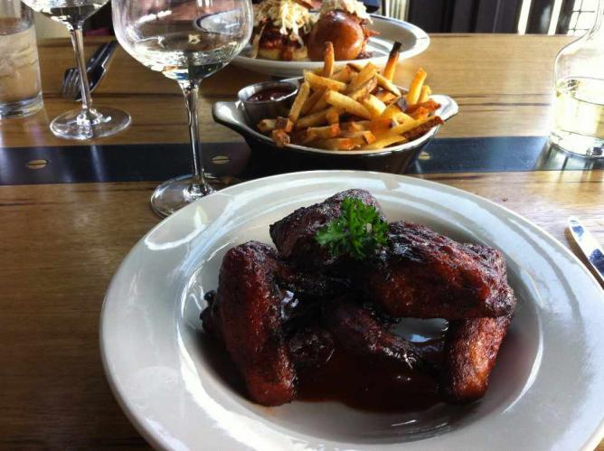 Barbecue chicken wings at Kickin' Boot Whiskey Kitchen