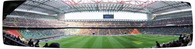 Panoramica di San Siro (Giuseppe Meazza) La partita è Milan-Atalanta| ©Stadio San Siro - Milano/WikiCommons