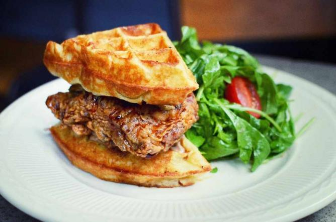 Fried Chicken and Waffle Sandwich at Sweet Chick © Sunshine Sachs