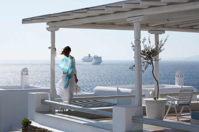 View of the Aegean sea from Porto Mykonos   Courtesy of Porto Mykonos and Christos Drazos