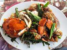 A famous specialty from Kep province, crab sauteed with green Kampot peppercorn