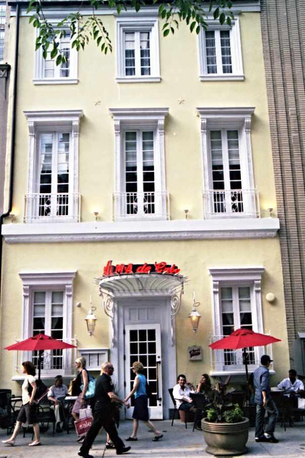 A glimpse of the front facade of Alma de Cuba on Walnut Street in Rittenhouse, Philadelphia.