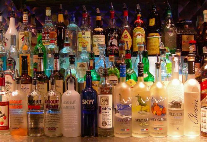 Bottles at a bar