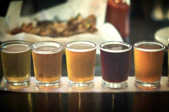 A line-up of beer flights at Dock Street Brewing Company in West Philadelphia