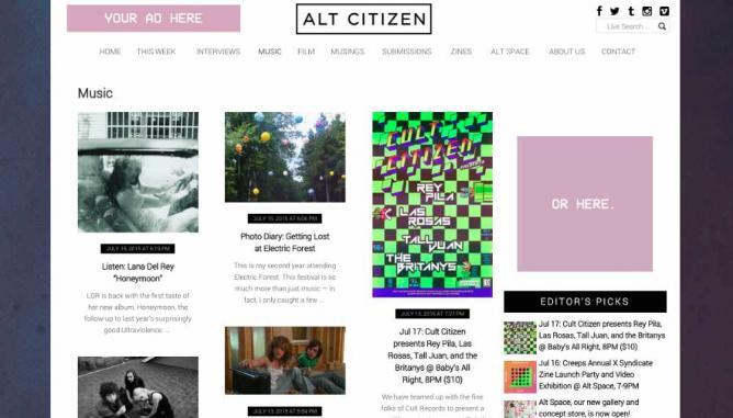 ALT CITIZEN's homepageALT CITIZEN Brooklyn-based culture blog ALT CITIZEN wants its readers to have fun with music. With its weekly musical horoscopes and humorously-titled mixtapes ('Songs to Piss your Parents Off' and 'Love Is Weird And Confusing' to name a few), the site adopts a playful approach to the subject. Also sharing the latest tracks and videos from your favorite artists as well as in-depth album reviews, the blog serves as a respectable go-to source for indie music news. Its accessible writing and consistent advertisement and support of the local music scene make ALT CITIZEN a must-read for any music-loving New Yorker. http://altcitizen.com