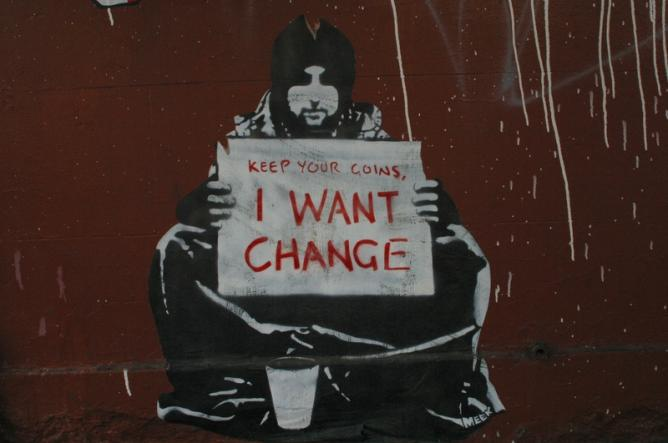 Keep Your Coins, I Want Change by Banksy | © Michael Pickard/Flickr