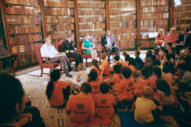 An event is held in one of the shelf rooms at the Library of Congress.