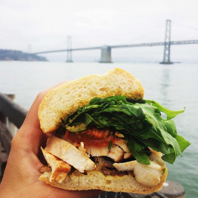 Roti Roti chicken sandwich enjoyed along the water with a beautiful view | © Margot McKelvie