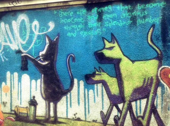 Banksy's 'Cat and Dog' mural in Easton | Courtesy of Marianna Hunt