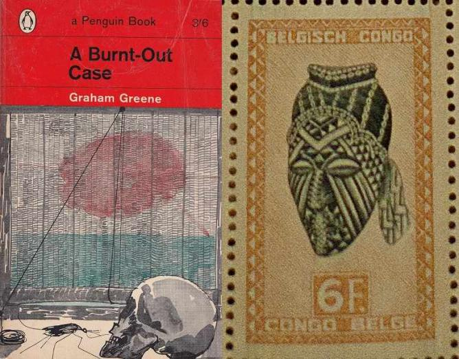 A Burnt-Out Case Book Cover (1963) (left); 6 Franc Postage Stamp with Indigenous Art from Belgian Congo (right) | © Jeremy Crawshaw on behalf of Penguin Random House Books; Ablank/Wikicommons