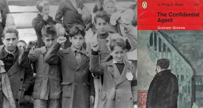 Children preparing for evacuation from Spain, during the Spanish Civil War, some giving the Republican salute. The photo is donated to Wikipedia Commons by the estate of Olga Brocca Smith and is dedicated to all innocent victims of war; The Confidential Agent book cover (1963) (right) | © Locospotter/WikiCommons; Jeremy Crawshaw on behalf of Penguin Random House Books