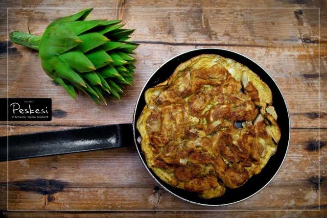 Οmelette with wild organic artichokes | Courtesy of Peskesi