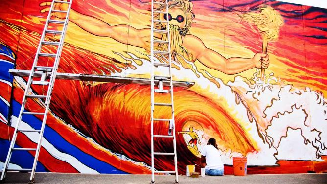 Decorating for O'Neill World Cup of Surfing